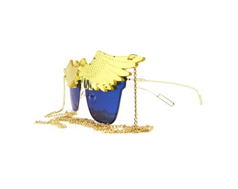 Blue and Gold Mirrored Chain Sunglasses - ARA