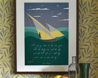 Original Design Art Deco A3 A2 A1 Sailing Boat Ship Sea John Masefield  poem 2013 Seaside Holiday Vintage Poster Print Bauhaus Vouge Retro
