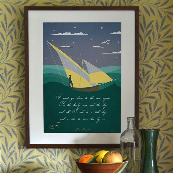 Art Deco Ship: Original Design Art Deco A3 A2 A1 Sailing Boat Ship Sea John
