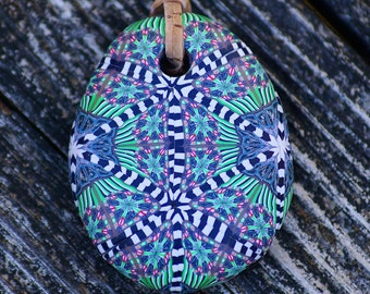 Handmade Green Kaleidoscope Polymer Clay Pendant
