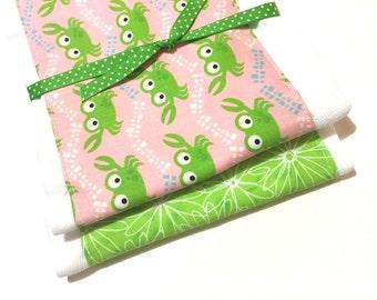 Babies Burp Cloth Set- Burp Rags-Cute Pink Green Crab Crabs, Baby Shower Gift, For Feeding Nursing Cloths, Matching Bib