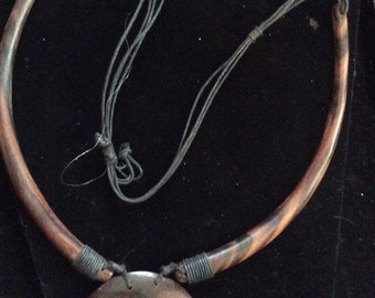 Wood beaded necklace 24 in