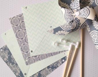5 paper pinwheels SPINNING kit no pins! Tea party wedding UK