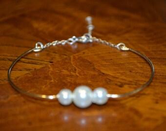 New Adjastable Bangle Bracelet- Pearls Bangle Bracelet- Braidesmaid Gifts.