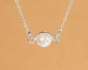Moonstone necklace - silver moonstone - june birthstone - rainbow moonstone - a silver bezel set moonstone on a sterling silver chain