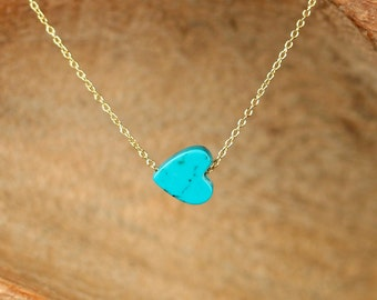 Turquoise heart necklace - love necklace - heart jewelry - a genuine turquoise heart on a 14k gold vermeil chain