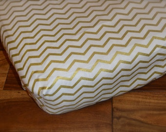 Fitted Sheet / gold chevron