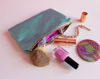 SALE: Jade Green Satin Makeup Bag, Mint Green Cosmetic Bag, Travel Accessories, Satin Toiletry Bag,