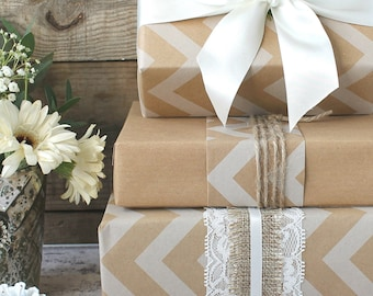 White Chevron and Kraft printed Wrapping Paper Kit