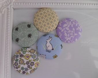 Pastel Spring Button Fridge Magnets set of 5 in gift tin
