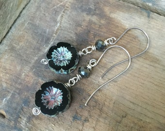 Rustic Black Czech Glass Flower Earrings with Darkened Sterling Silver Wire and Faceted Gunmetal Glass Rondelles