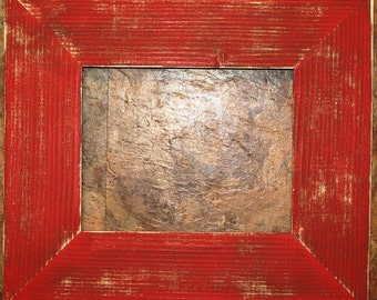 """F002 3-1/2"""" OKC Red Distressed Picture Frame"""