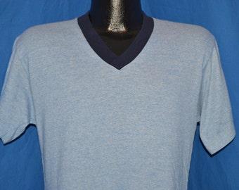 80s Blank V Neck Heather Blue t-shirt Medium