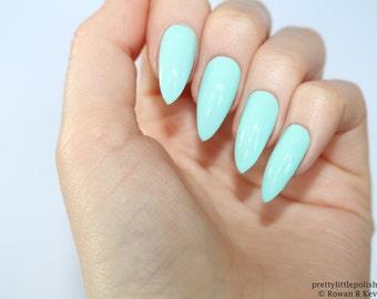 Stiletto nails, Mint stiletto nails, Fake nails, Press on nails, False nails, Stiletto false nails, Press on stiletto nails