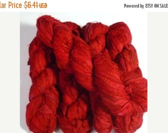SALE On Sale 50g Recycled Sari Silk Ribbon, RUBY RED