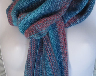 Summer Sky - handwoven cotton and bamboo scarf