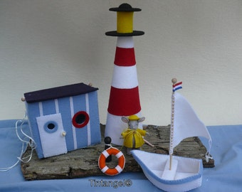 Mouse goes to the sea - Cabin, Ligthhouse and Boat- DIY kit