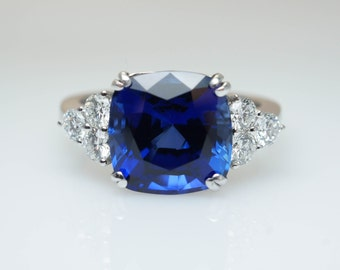 Synthetic sapphire and diamond etsy for Man made sapphire jewelry