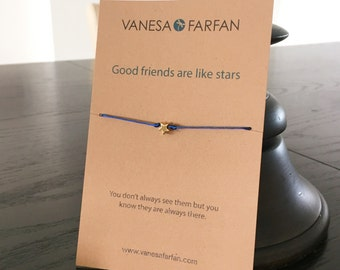 Friendship Bracelet Good Friends are Like Stars, Small Star, Silver or Gold, for Kids, Girls and Women, Adjustable, in 16 Colors
