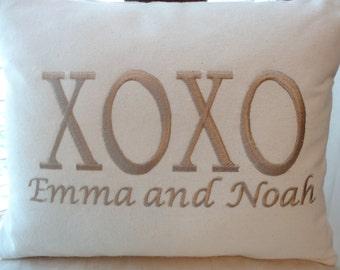 XOXO - personalized - monogrammed engagement/wedding/anniversary pillow