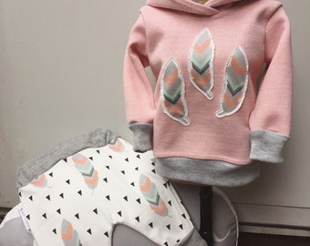 Exclusive Lazy Pants and Hoodie set in Peach Dreamer, sizes 000, 00 and 1 only