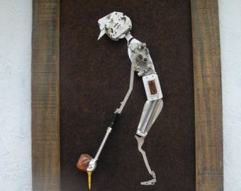 P. Geist Mechanical Art Golfer. Heavy Wooden Frame, Cool Industrial Art. Nice Vintage Condition