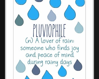 """I Love Rainy Days """"Pluviophile"""" A4/A3 Print, Gift idea for Introverts"""