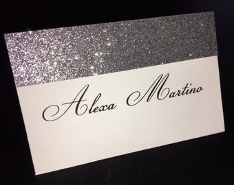 White Matte Printed Folded Placecard with Top Silver Glitter Accent