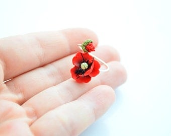 Red poppy ring, sterling silver base