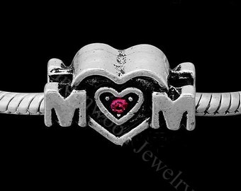 """European Charm Bead For All Large Hole Charm Bracelet And Necklace Chain.  """"MOM"""" STONE bead - 19*12mm"""
