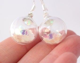 Romantic heart in a glass ball earrings, glittery sparkly earrings, evening dangle earrings, heart jewelry