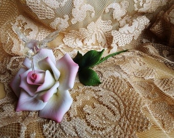 Vintage 1960s, Art Metal Sculpture Pink and White Rose with Hummingbird