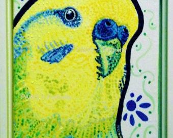Parakeet - Budgie portrait - 5x7 Original framed painting- FREE Shipping