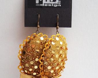 Golden sequin textile earrings