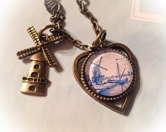 Delft necklace, delft heart necklace, windmill, delft, delft jewelry, Dutch, Holland, windmill charm necklace