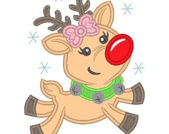 Flying Reindeer Girl Embroidered Shirt - Christmas Shirt - Girls Christmas Shirt - Rudolph Shirt