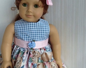 American Girl 18 inch Doll Dress Blue Gingham & Teddy Bear Print  with Matching Hairbow ~FREE SHIPPING~