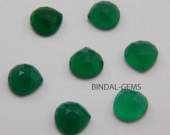 15 Pieces Rarest Quality Lot Green Onyx Heart Shape Rose Cut Loose Gemstone For Jewelry