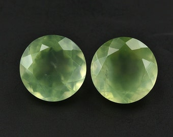 10 Pieces lot Natural Prehnite Round Shape Faceted Cut Loose Gemstone