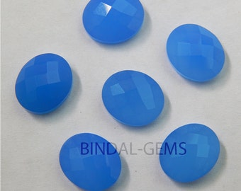 10 Pieces Lot Blue Chalcedony Oval Shape Checker Cut Loose Gemstone