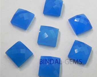 10 Pieces Lot Blue Chalcedony Square Shape Checker Cut Loose Gemstone