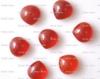 10 Pieces Wholesale Lot Red Onyx Heart Shape Cabochon Gemstone For Jewelery
