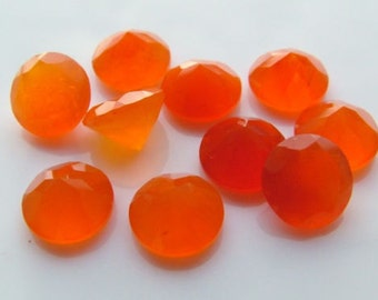 10 Pieces Lot Carnelian Round Shape Faceted Cut Loose Gemstone
