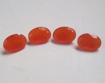 20 Pieces Lot Carnelian Oval Shape Faceted Cut Loose Gemstone