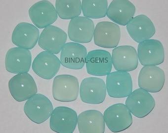 25 Pieces Aqua Chalcedony Cushion Shape Loose Smooth Polished Gemstone
