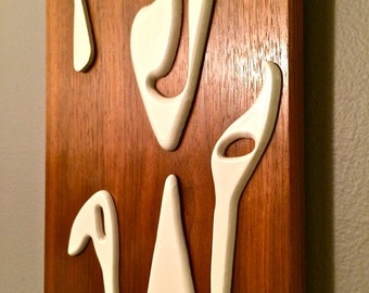 SALE!!! 25% OFF Vintage Retro Mid Century Modern Wall Decor Wood Panel with Juggler