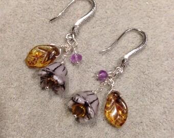 Czech Glass flower earrings , wild Dream