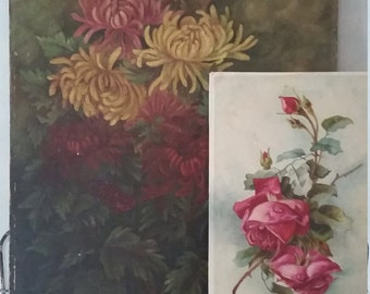 Vintage Oil Painting Chrysanthemums