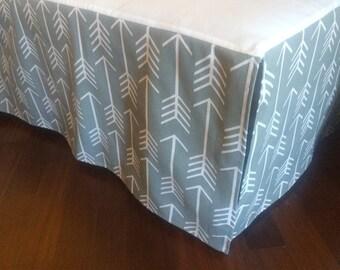"14"" Any Fabric Straight Crib Skirt. White Arrows on grey"