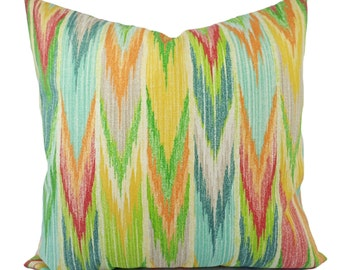 Two Red Yellow and Blue Outdoor Pillow Covers - Patio Pillows - Blue and Green Pillow - Chevron Patio Pillow - Couch Pillow - Accent Pillow